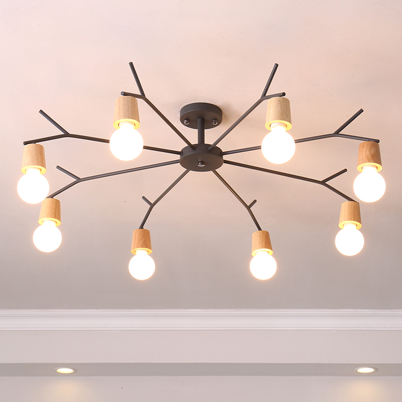 Nordic Ceiling Light Fixtures Bedroom Study Iron Lamp Modern Wooden led Ceiling Lamps For Living Room Fashionable House Lighting цена