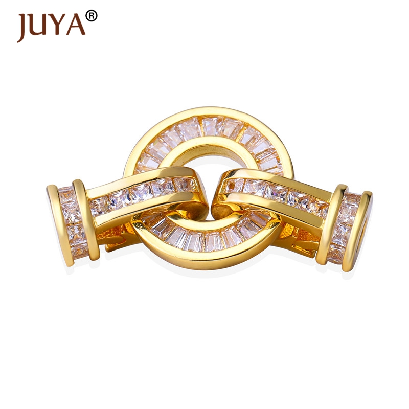 Top Quality Copper AAA Zircon Fold Over Clasps For DIY Gemstone Pearls Bracelets Necklace Beads End Cap Clasp Jewelry Components