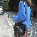 2017 korea style vintage pu leather women Bucket shoulder bags black brown women crossbody bags in high quality 700