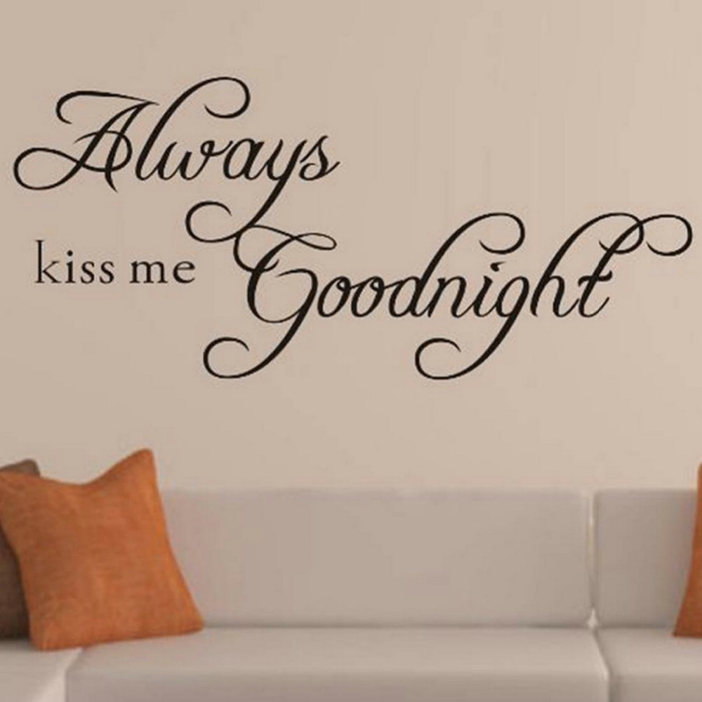 ^ S/M/L 3 Sizes chooses always kiss me good night living room bedroom kids room home decor non-toxic 3d waterproof wall sticker
