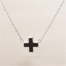 black enamel stamp 925 real silver designer cross necklace for Christian,womens or mens jewellery