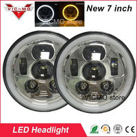 Front Driving 7 Car Style H4 LED Projector Headlights Automobiles DRL Cromado Round With Angel Eyes