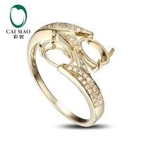 CaiMao Oval cut Semi Mount Ring Settings & 0.16ct Diamond 14k Yellow Gold Gemstone Engagement Ring Fine Jewelry