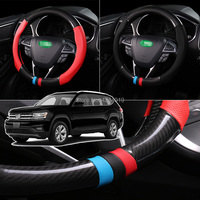 For Mazda 3 Diameter 38CM Steering Wheel Cover Anti Slip Carbon Fiber Top Leather Sport Style car accessories