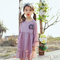 2018 Spring New Children S Clothing Girls Dress Girls Thin Section Gauze Dress Girl Long Lace