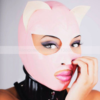 Cat Women Pink Latex Hood Rubber Mask with White Ears Back Zip Hoods Handmade S LM215