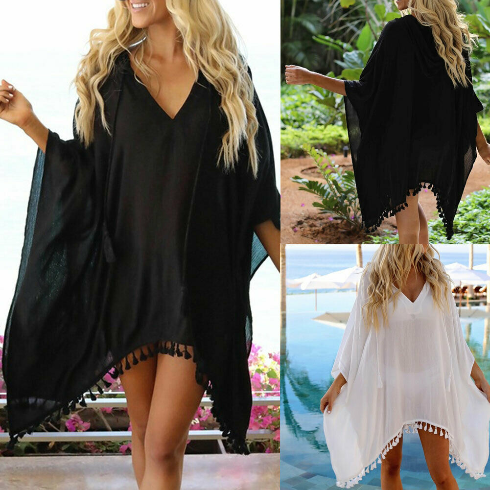 Sexy Women Summer Beachwear Tassel Swimwear Cover Up Sarong Tassel Summer Beach Wear Kaftan Loose Dress Plus Size