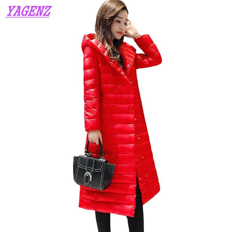 Large size Women Winter warm Down cotton Jacket Korean Women Long Cotton outerwear High quality Hooded Light thin Overcoat B195 men ultra light large size thin parka jacket korean black cardigan china hoody winter overcoat slim warm military manteau homme