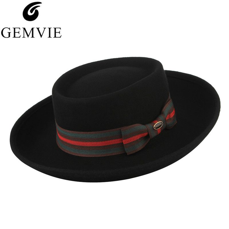 84ffcd52450 100% Wool High Grade Felt Hat for Men Women Vintage Fedora Hat Unisex  Classical Flat top Wide Brim Jazz Cap Formal Party Top Hat-in Fedoras from  Apparel ...