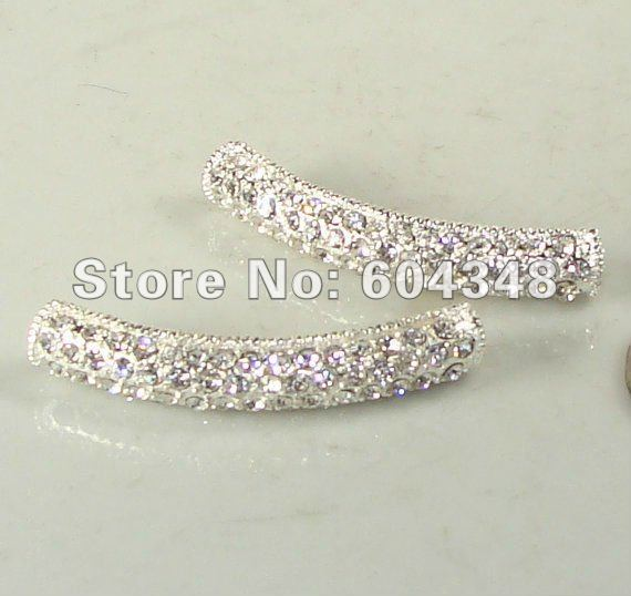 White/ Clear Rhinestone Bracelet Bar Pave Silver Tone With Crystal For Bracelets 8mmx45mm Jewelry Connector Findings 25PCS