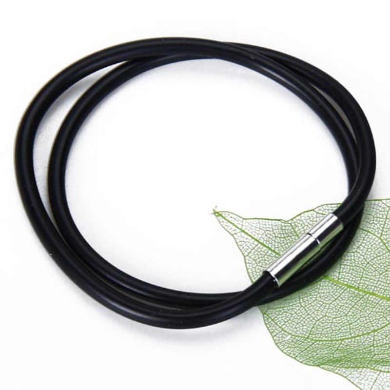 3mm czarna guma naszyjnik ze sznurka z zamknięciem ze stali nierdzewnej-24 Cal ee