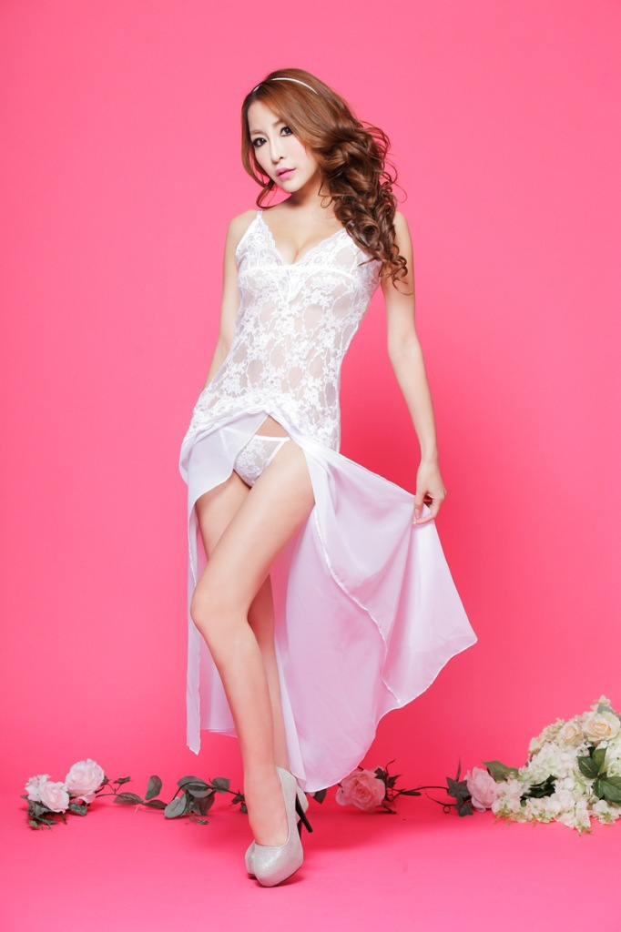 N314 See through babydoll white appliqued font b sex b font wholesale retail breathable women sleepwear