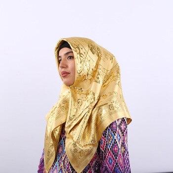 fashion Silk jacquard scarf square hijab Islamic women's hijabs Hot stamping foulard femme musulman vintage headscarf Hijab factory outlet silk jacquard scarf muslim square hijabs shawl ethnic ultralight foulard hijab islamic women s accessories