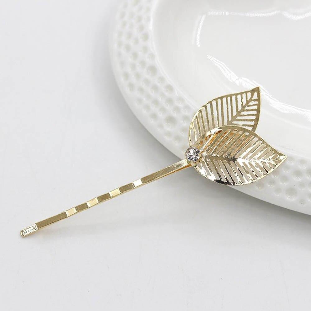 1PC Wedding Bridal Women Girls Gold Leaf Shape Hair Clip Alloy Edge Clamp Hairpins Barrettes Hair Accessories