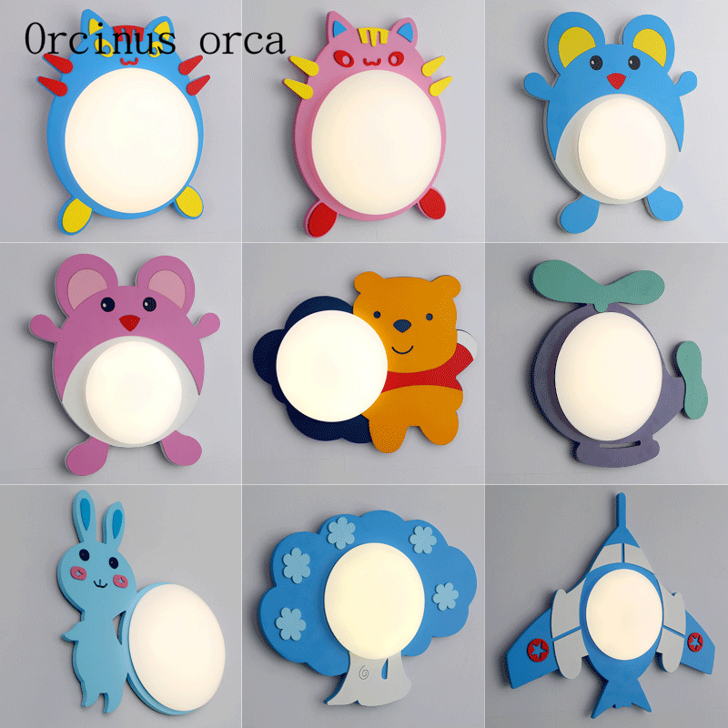 Cartoon creative plane wall lamp boy girl bedroom children's room lamp modern simple animal LED wall lamp free shipping creative cartoon baby cute led act the role ofing boy room bedroom chandeliers children room roof plane light absorption