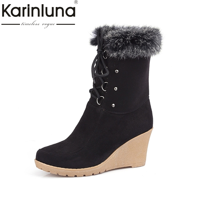 2017 Fashion Lace up Half Knee High Boots High Heels Wedges Spring Autumn Shoes Rabbit Fur Uppers Platform Lace Up Winter Boots newest women half knee high motorcycle boots vintage chunky heels spring autumn outdoor platform shoes woman female boots
