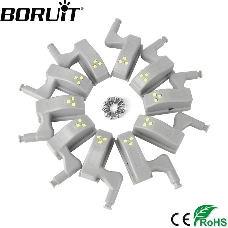 BORUiT 10pcs Universal LED Under Cabinet Light Cupboard Inner Hinge Lamp Closet Wardrobe Sensor Light Home Kitchen Night Light ...