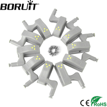 BORUiT 10pcs Universal LED Under Cabinet Light Cupboard Inner Hinge Lamp Closet Wardrobe Sensor Light Home Kitchen Night Light