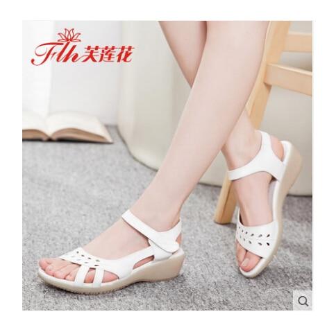 ФОТО Free shipping!!Elegant Women Genuine Leather Sandal Shoes Top Quality Gift for Mama Summer Sandal Nurse Sandal