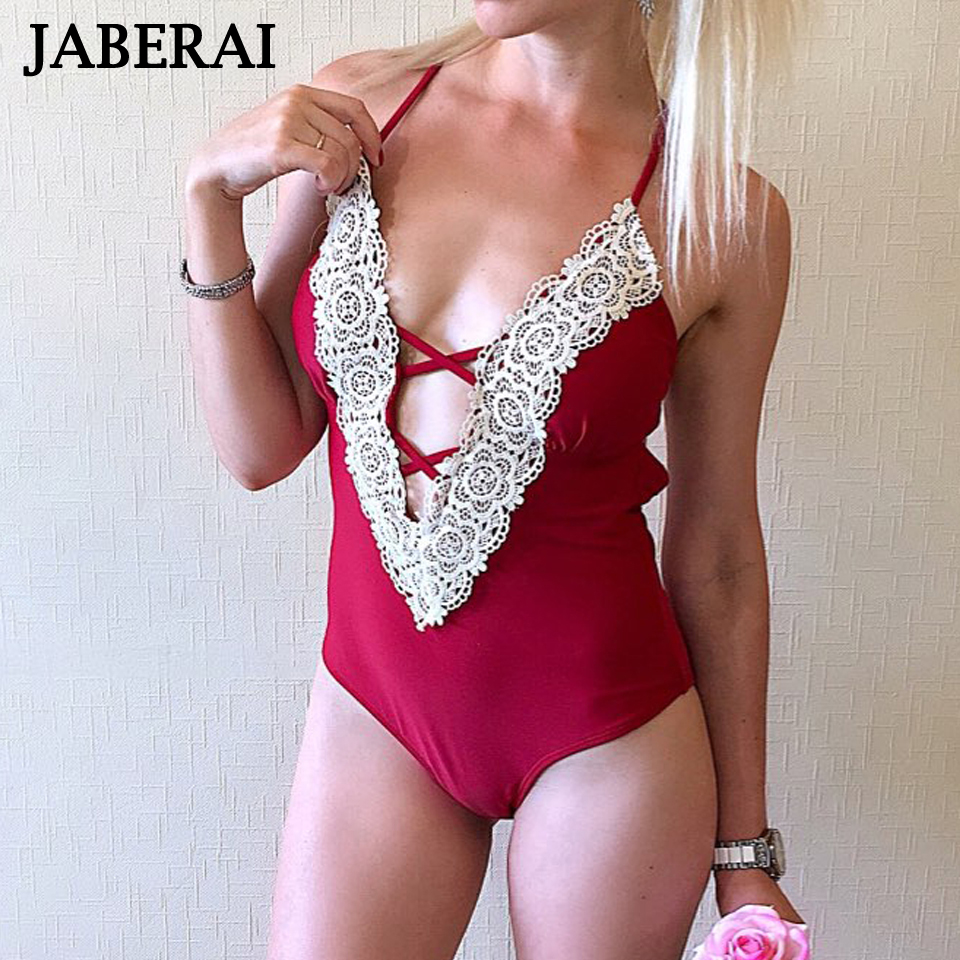 JABERAI One Piece Swimsuit 2018 Monokini Backless Swimwear Women Push Up Biquini Halter Beachwear Strappy Bathing Suit