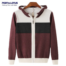 PORT LOTUS Men s Knitted Sweaters Contrast With Hat Brand Clothing Pullover Sweater Male Cardigans Warm