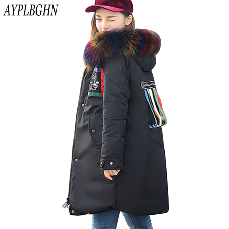 New Long Jacket Women Winter Slim Solid fur collar Coat Female Down Cotton Clothing Thicken Parka Hooded Jackets Casual Outwear hooded collar korean new 2014 winter clothing full sleeve solid down jacket slim women casual cotton padded coat ly1066