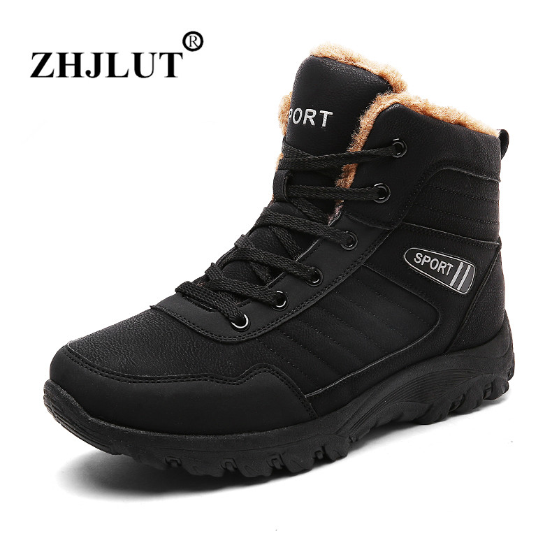 Big Size Winter Sneakers Men Snow Boots Plush Fur Warm Waterproof Boots Men Hiking Shoes Outdoor Trekking Ankle Boots Men Shoes 2017 new autumn winter trekking boots men size 38 45 climbing shoes fur warm hiking sneakers blue black men mountain boots