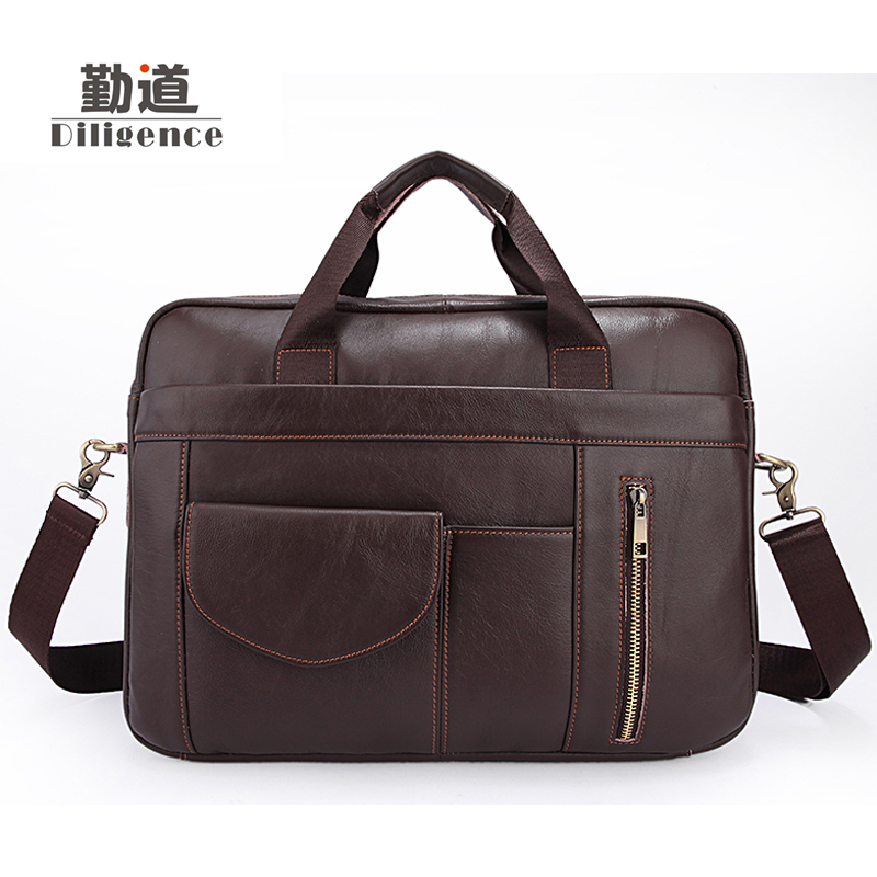 Men S Genuine Cowhide Leather Business Handbags Fashion Retro Laptop Bags Famous Brand Designer Style Crossbody Office