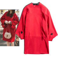 New coat gate of qiu dong edition loose type cocoon wool overcoat red cloth female long wedding