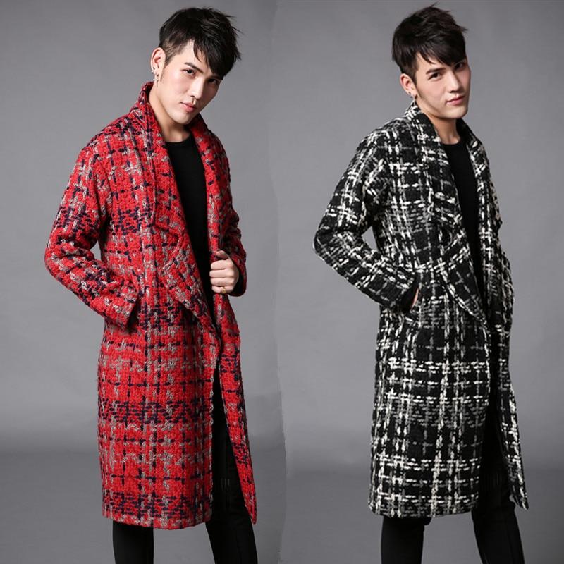 2016 Winter Britischen Stil Hairstylist Warme Starke Woll Jacken Männer Red Langen Abschnitt Beiläufige Dünne Woolen Windjacke Männer M-xl