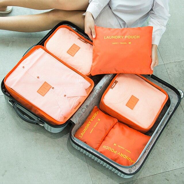 Urijk 6 pcs/ensemble Voyage sac de rangement Vêtements Tidy Pouch Bagages Organisateur Contenant Portatif étui de rangement étanche livraison directe