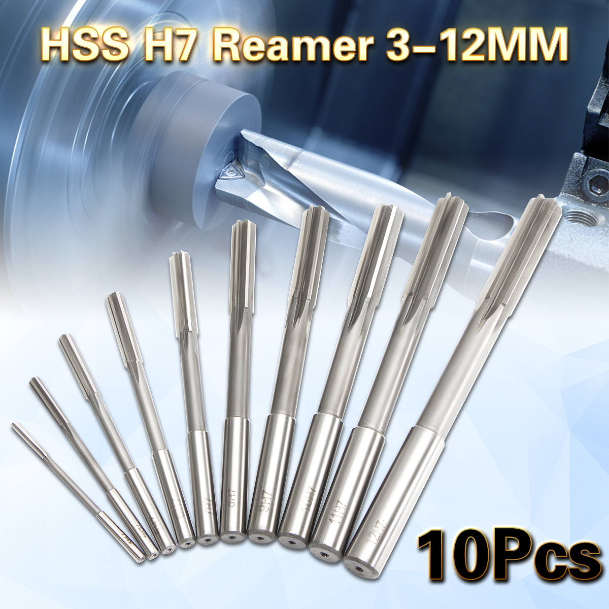 10Pcs HSS H7 Straight Shank Milling Reamers Set Precision Chucking Machine Cutter Tool 3/4/5/6/7/8/9/10/11/12 mm 1pcs hss h7 machinery longer taper shank straight chucking reamers 28x400mm