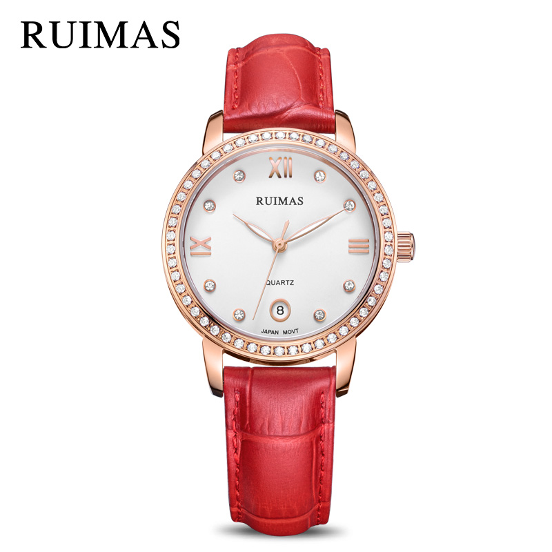 RUIMAS Luxury Quartz Women Watches Relogio Feminino Top Brand Fashion Leather Ladies Watch Clock Simple Bracelet Montre Homme xinge top brand luxury women watches silver stainless steel dress quartz clock simple bracelet watch relogio feminino