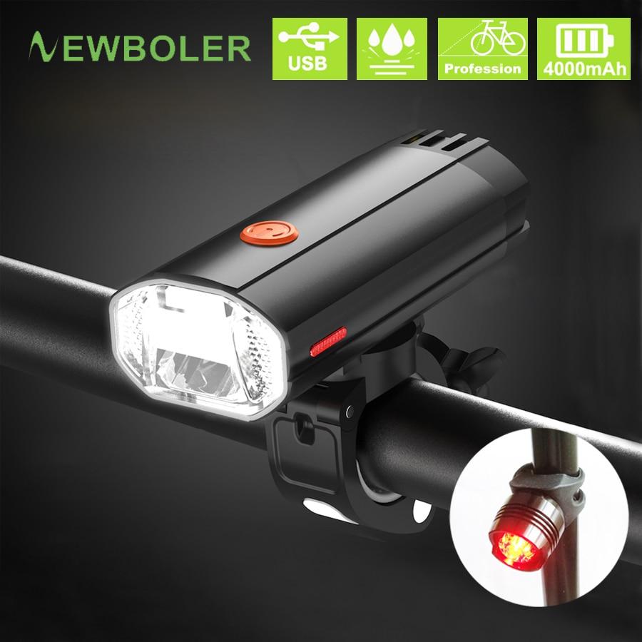 NEWBOLER 4000 MAh 600 Lumen Bicycle Light MTB Bike Lamp Front And Back Kit LED Headlight USB Rechargeable Flashlight For Cycling