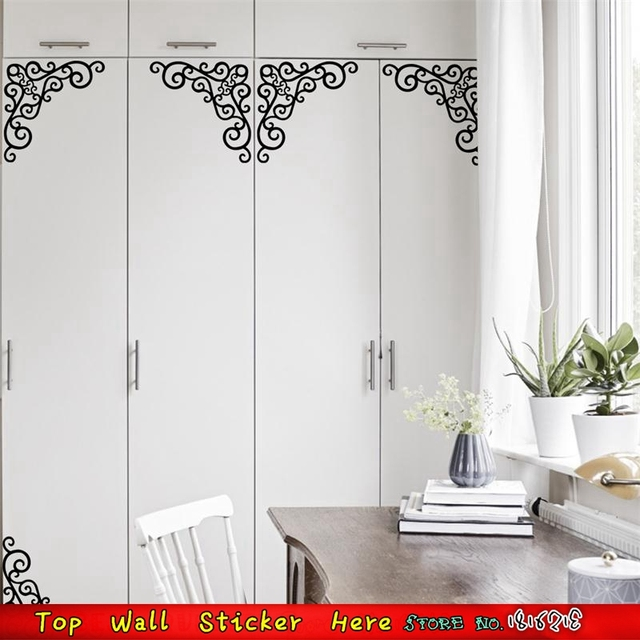 Waterproof Lace Henna Flower Wall Sticker Home Furniture Window Wardrobe  Cupboard Corner Stickers Decoration Window Wall Part 58