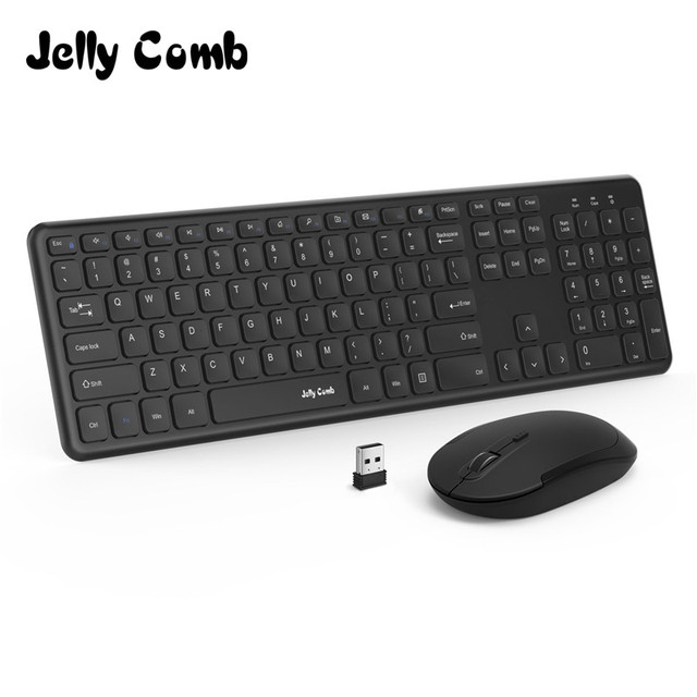2122f596f5f Jelly Comb 2.4GHz Full Size Wireless Keyboard and Mouse Combo Set with  Number Pad for
