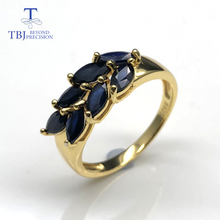 Sapphire rings natural gemstone with 925 sterling silver yellow gold r