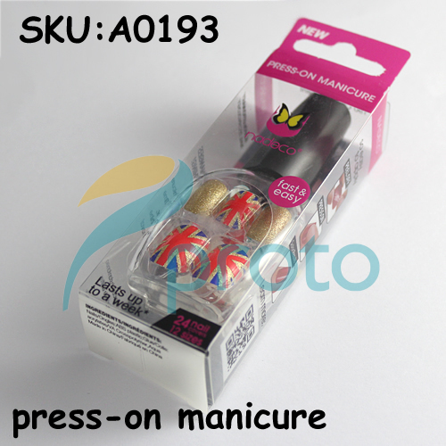 NEW Fashion 24 Nail Full Covers Press-On Manicure Perfect Gift Salon Manicure Nail Art - Union Jack Dropship [Retail] SKU:A0193