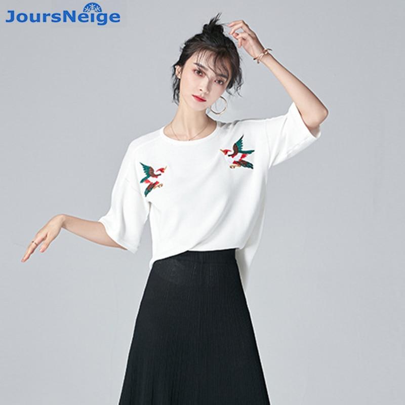 JoursNeige Pájaro Bordado Mujeres Pullover Sweater 2017 Nueva Moda de Verano de