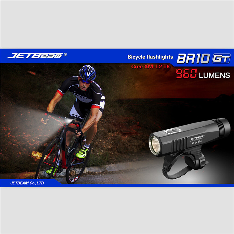 JETBeam BR10GT Black Cree XM-L2 LED Rechargeable Bike Light Flashlight+battery Outdoor Cycling Bicycle Bike Front Head Light M12 cree xm l t6 bicycle light 6000lumens bike light 7modes torch zoomable led flashlight 18650 battery charger bicycle clip