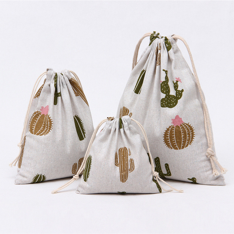 YILE 1pc Cotton Linen Drawstring Pouch Party Gift Bag Sorted Bag Print Cactus 8115c