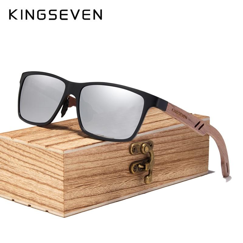 KINGSEVEN 2019 Wood Men Sunglasses Polarized Wooden Sun Glasses for Women Mirror Lens Handmade Fashion UV400 Eyewear Accessories 6
