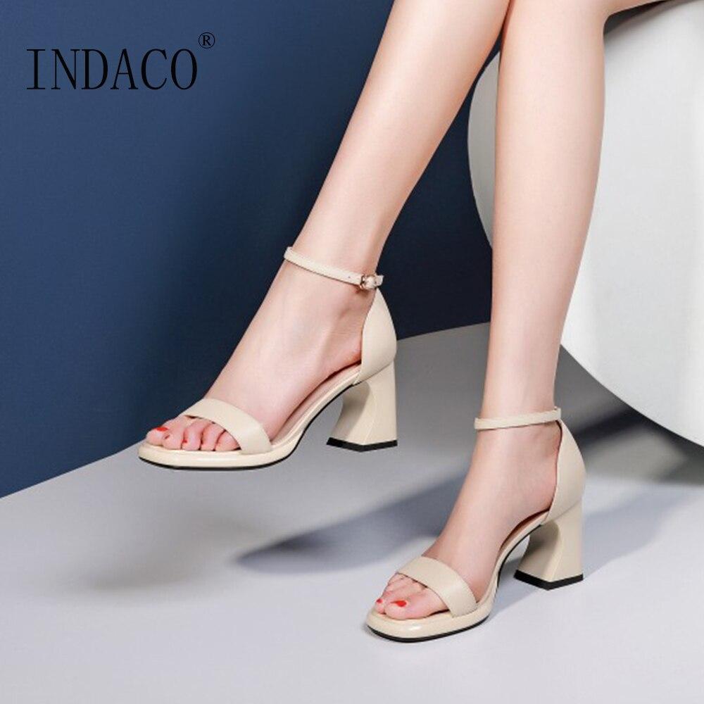 Shoes Women Summer High Heels Block Fashion Sandals Beige