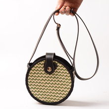 Leather buckle bamboo womens bag 2019 new handmade braided round stripes shoulder PU strap beach