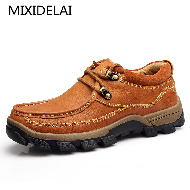 Genuine Leather Men's Shoes 2019 Autumn Winter Casual Waterproof Work Shoes Outdoor Rubber Shoes Lace-up Oxfords Chaussure Homme