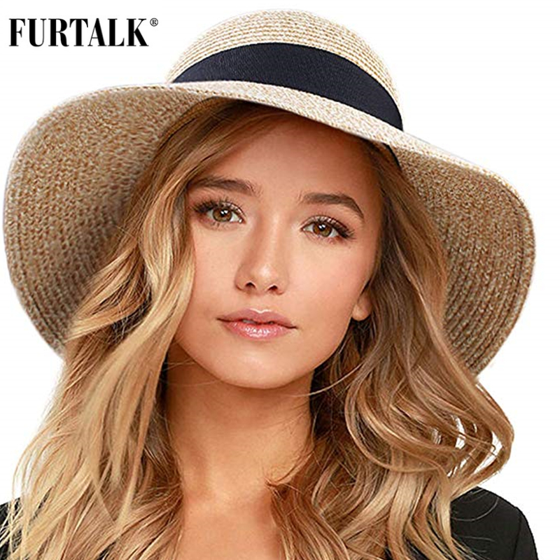 FURTALK Summer Hat For Women Beach Sun Hat Straw Hat Panama Fedora Cap Wide Brim UV Protection Summer Cap For Female