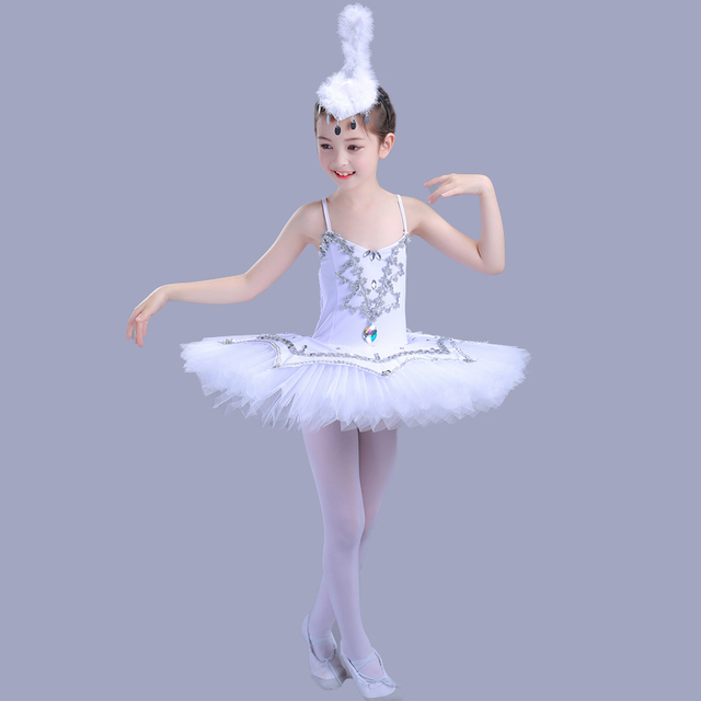 758fe7b5288f Seqined Girls Ballerina Dress Kids White Swan Lake Ballet Costumes Children  Strap Professional Tutu Leotard For Dance Wear