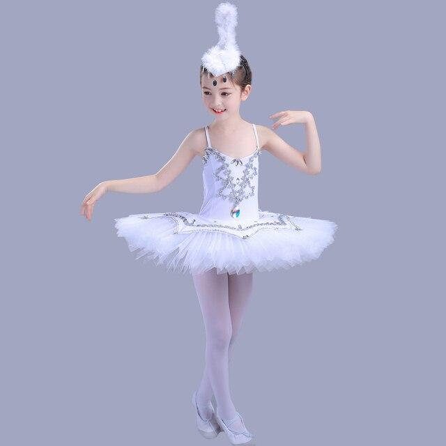 9966aaa934 Seqined Girls Ballerina Dress Kids White Swan Lake Ballet Costumes Children  Strap Professional Tutu Leotard For Dance Wear