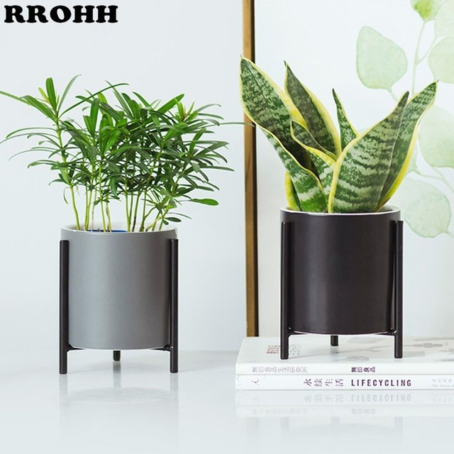 Nordic simple Ceramic Flower Pot Planter And Geometric Round Iron Rack Stand Anti rust Holder Display Home Decoration