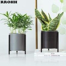 Nordic simples Vaso De Cerâmica e Plantador E Geométrica Rodada Exibição Titular Rack Suporte Anti ferrugem de Ferro Decoração Da Casa